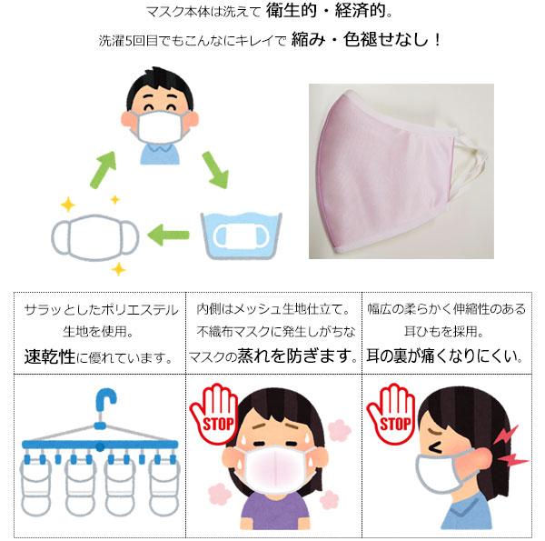 マスクは洗えて衛生的・経済的。洗濯5回目でもこんなにキレイで縮み・色褪せなし!