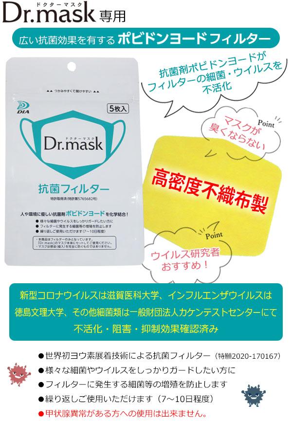 ドクターマスク Dr.mask専用 広い抗菌効果を有するポビドンヨードフィルター