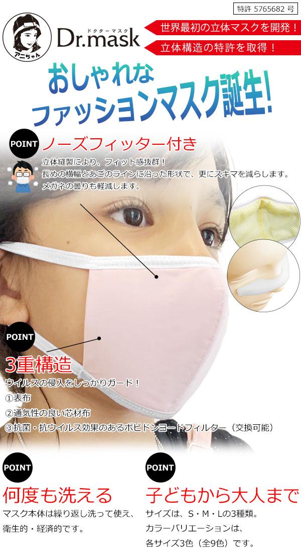 世界最初の立体マスクを開発!立体構造の特許を取得!特許5765682号 おしゃれなファッションマスク誕生!
