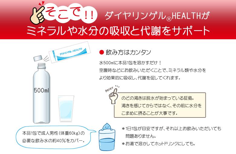 ダイヤリンゲルヘルスがミネラルや水分の吸収と代謝をサポート